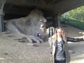 A mi espalda el famoso troll de Fremont, bajo el puente que nos devuelve al Down Town
